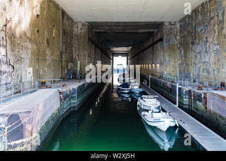 Lorient, France - August 3, 2018: Keroman Submarine Base. It was a German U-boat base located in Lorient during World War II - Stock Image