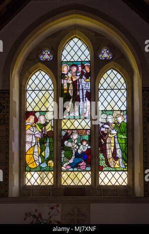 'The Annunciation' stained-glass window by Edward Burne-Jones and William Morris St. Mary the Virgin Church  Connaught Avenue Frinton-on Sea Essex - Stock Image
