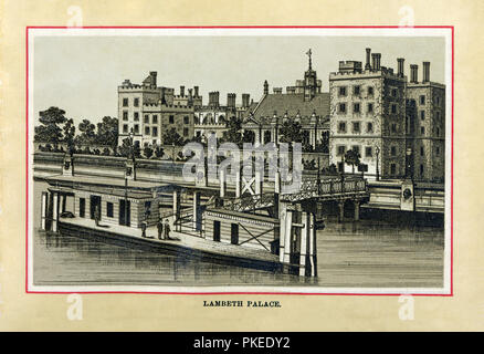 Lambeth Palace, 1880 high quality steel engraving of the official residence of the Archbishop of Canterbury, on the South Bank of the River Thames by Lambeth Pier, parts dating back to the 15th Century - Stock Image