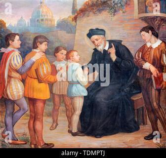CATANIA, ITALY - APRIL 8, 2018: The painting of St. Filip Neri in the church Chiesa di San Filipo Neri (1937). - Stock Image