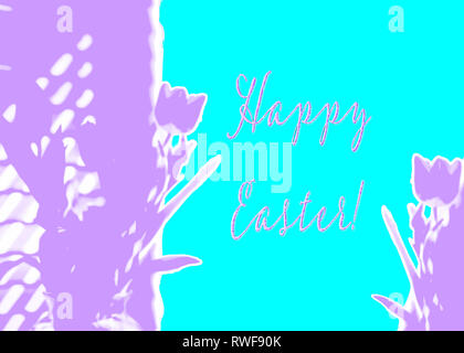 Happy Easter graphic design of rough ripped torn paper abstract tulips in purple violet aqua turquoise - Stock Image