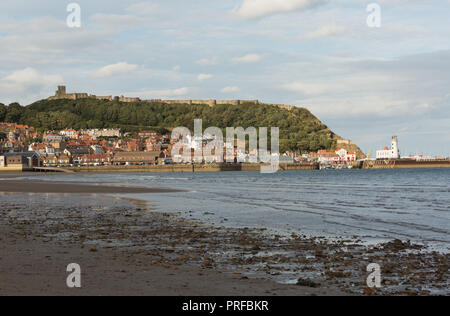 Scarborough Castle, beach, harbour and lighthouse. unsharpened - Stock Image
