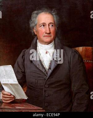 Johann Wolfgang von Goethe (1749 – 1832), German writer and statesman.  Painted by Joseph Karl Stieler in 1828 - Stock Image