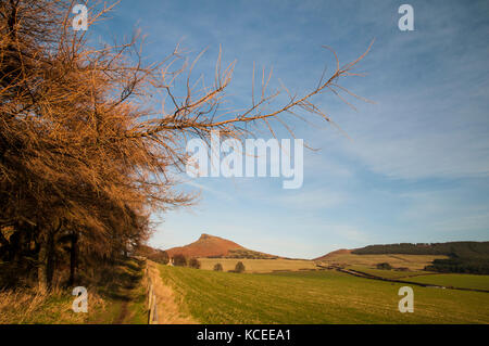 A view of Roseberry Topping, a prominent and distinctive hill on the northern edge of the North York Moors National - Stock Image