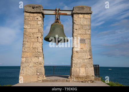 View of The bell of Chersonesus (or the fog bell of Chersonesos) in National Preserve of Tauric Chersonesos in Sevastopol city, Crimea Republic - Stock Image