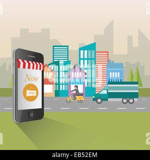 Online shopping and retail concept illustration - Stock Image
