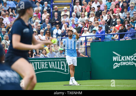 Eastbourne, UK. 24th June, 2019. Fernando Verdasco of Spain shows his frustration after a series of double fault serves against John Millman of Australia during their match at the Nature Valley International tennis tournament held at Devonshire Park in Eastbourne . Credit: Simon Dack/Alamy Live News - Stock Image