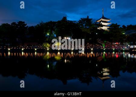 Sarusawaike Pond during Nara tokae lantern festival, Nara, Japan - Stock Image