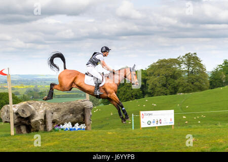 Rafael Losano and his horse Twizted Syster with its tail up clear a tree trunk obstacle with the Welland valley - Stock Image