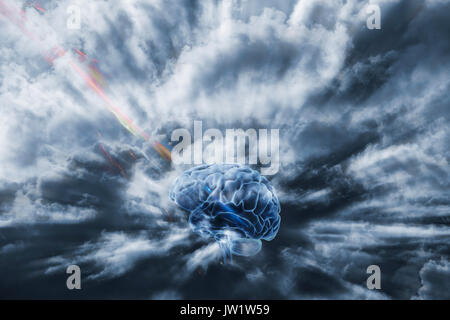 human brain obtaining energy through space, communication via artificial intelligence - Stock Image