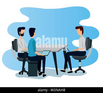 professional businessmen teamwork with desk and sitting in the chair - Stock Image