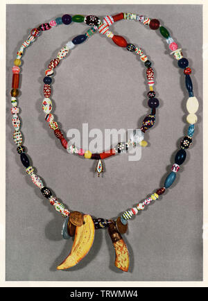 Hudson Bay beads and other ornaments used in the fur trade, Oregon. Color halftone of a photograph - Stock Image