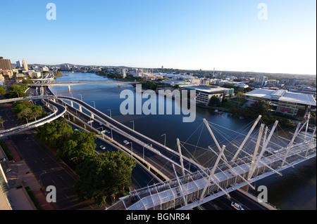 Kurilpa Bridge and North Quay Brisbane, Queensland Australia - Stock Image