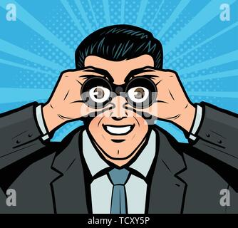 Businessman looking through binoculars. Pop art retro comic style. Business vector illustration - Stock Image