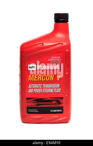 Ford Motorcraft Mercon V Automatic Transmission and Power Steering Fluid - Stock Image