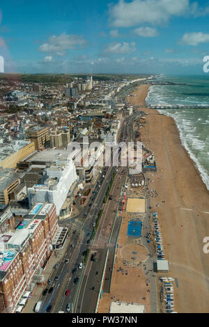 Aerial view of Brighton beach and seafront road and buildings as seen from theBritish Airways i360 observation pod, Brighton, East Sussex, England, UK - Stock Image