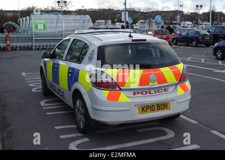 Northumbria Police Car, Rear View.Emergency services,  Northumbria police. - Stock Image