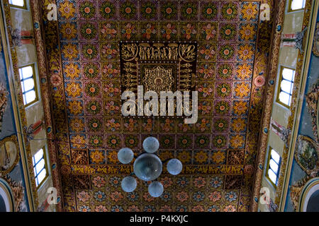 Interior and ceiling decorations of Chettinadu-style mansion, Chettinad region, Tamil Nadu, India. - Stock Image