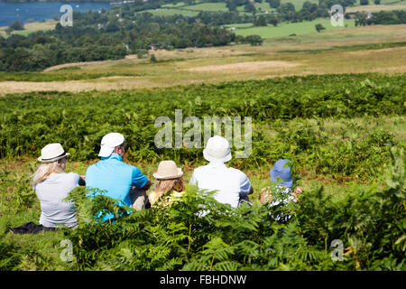 Five walkers and holidaymakers sitting in bracken on a fell looking out to Ullswater on a hot sunny day wearing - Stock Image