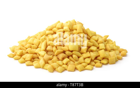 Heap of mini mandels croutons isolated on white - Stock Image