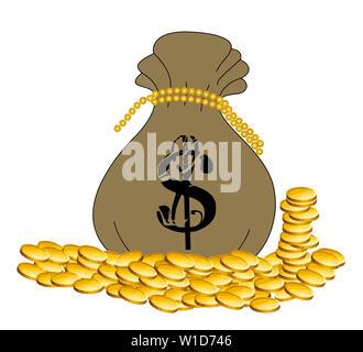 golden coins sack  full save funds illustration moneybag - Stock Image