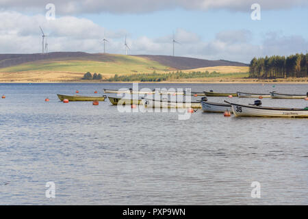 Fishing boats for hire at Llyn Brenig reservoir in the Denbigh moors run by Dwr Cymru or Welsh Water it is popular for cycling fishing and hiking - Stock Image