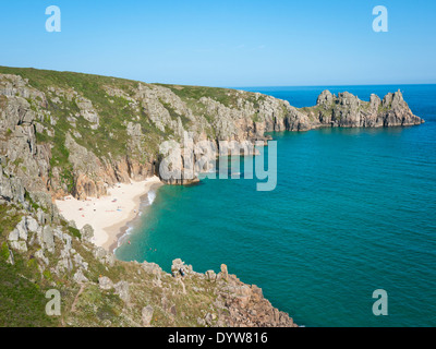 Logan Rock and Pedn Vounder beach, Cornwall - Stock Image