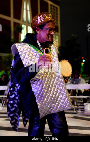 Philadelphia, USA. 08th Sep, 2018. Members of cosmic and experimental jazz ensemble Sun Ra Arkestra, conducted by the 94 year old Marshall Allen, perform off stage in Philadelphia, PA, on September 8, 2018. Credit: PhotograPHL/Alamy Live News - Stock Image