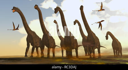Brachiosaurus Dinosaurs on Trek - Dimorphodon reptiles fly past a herd of Brachiosaurus dinosaurs during the Jurassic Period. - Stock Image