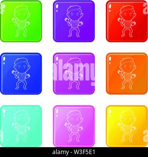 Clown icons set 9 color collection - Stock Image