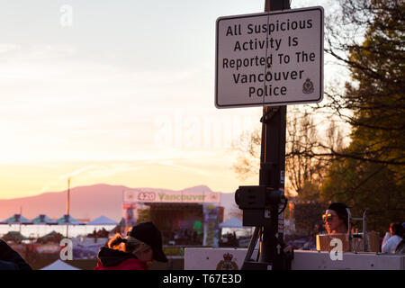 VANCOUVER, BC, CANADA - APR 20, 2019: A Vancouver Police sign at the 420 festival in Vancouver. - Stock Image