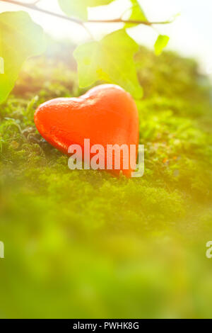 Chocolate heart in bright red foil wrapper on moss in magical light. Romantic background texture with plenty text or copy space. - Stock Image