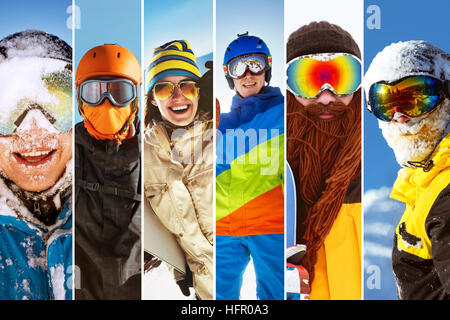 Photo collage ski snowboarder skier people - Stock Image