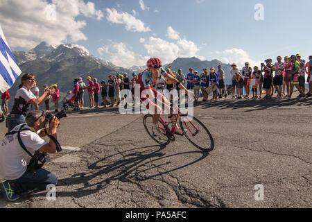 Ilnur Zakarin Team Katusha Alpecin Tour de France 2018 cycling stage 11 La Rosiere Rhone Alpes Savoie France - Stock Image