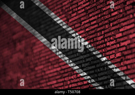 Trinidad and Tobago flag  is depicted on the screen with the program code. The concept of modern technology and site development. - Stock Image