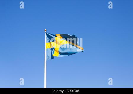 Blue yellow Swedish flag - Stock Image