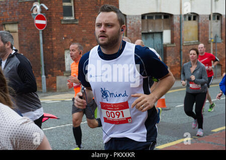 Mansfield, Nottinghamshire, England, UK. 16th September 2018. Ben Bradley the out spoken Tory M.P. for Mansfield competing in the Mansfield 10k and finishing in 150th place out of 607 with a time of 49 mins. 50 sec. Alan Beastall/Alamy Live News - Stock Image