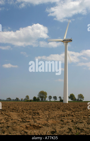 Wind turbine at a British windfarm at West Somerton Norfolk Broads East Anglia UK - Stock Image