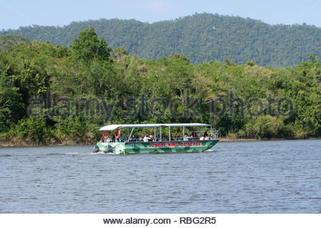 Tourists on a Jungle King Daintree Boat Cruise on the Daintree River, Daintree National Park, Wet Tropics, Far North Queensland, FNQ, QLD, Australia - Stock Image
