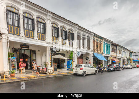 Phuket, Thailand - 11th April 2017: Sino Portuguese architecture on Thalang Road on a stormy day. Many buildings have been restored. - Stock Image