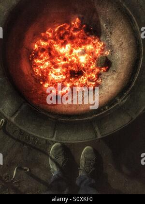 A fire / barbecue - Stock Image