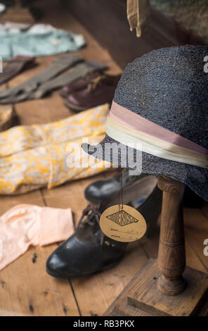 Old-fashioned shop window display at St Fagans National History Museum in Cardiff, South Wales - Stock Image