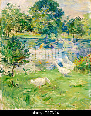 Berthe Morisot, Girl in a Boat with Geese, painting, c. 1889 - Stock Image