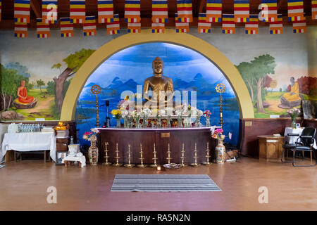 The Shrine Room at the New York Buddhist Vihara Association in Queens Village, Queens, New York City. - Stock Image