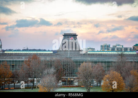 OTTAWA, CANADA - NOVEMBER 10, 2018: American flag waiving over the United States of America embassy in Ottawa, a symbol of the diplomatic relations be - Stock Image