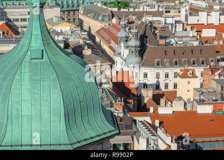 Vienna Innere Stadt, view of the rooftops of the historical core of Vienna viewed from the South Tower of the Stephansdom Cathedral, Wien, Austria. - Stock Image