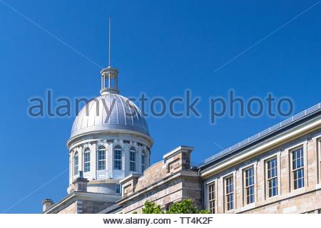 Montreal, Quebec, Canada-May 20, 2019: The Bonsecours Market in the old district of the city which is a Unesco World Heritage Site and tourist attract - Stock Image