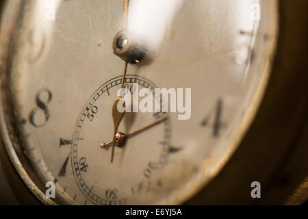 Macro of second hand dial on antique pocket watch - Stock Image