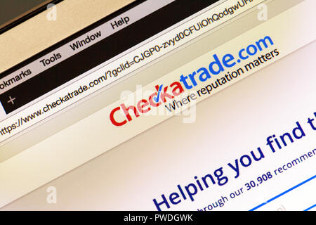 Checkatrade.com website to find tradesmen, Find A Tradesman, Checkatrade website, Checkatrade.com, Checkatrade.com homepage, Checkatrade.com logo, - Stock Image