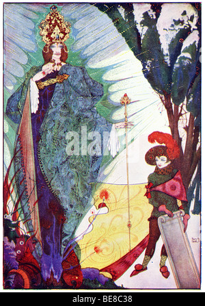 Harry Clarke Art Nouveau Print Illustration Fairy Tales from  Hans  Andersen 1st Coker & Co 1919THE SNOW QUEEN - Stock Image